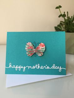 Mother's Day Card with multicolored butterfly by BriEllaCreations on Etsy