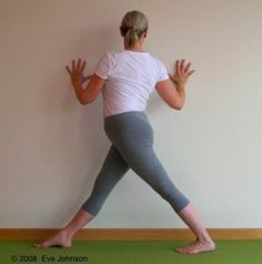 here's a yoga paradox: the more strongly we twist, the more we unwind. Rotated triangle pose is an intense twist, start at a wall to learn the alignment.