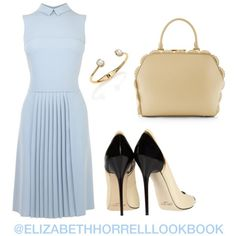 A fashion look from July 2015 featuring blue midi dress, black high heel shoes and real leather handbags. Browse and shop related looks. Cute Work Outfits, Cute Casual Outfits, Modest Outfits, Stylish Outfits, Fashion Outfits, Womens Fashion, Feminine Dress, Classy Dress, Spring Summer Fashion