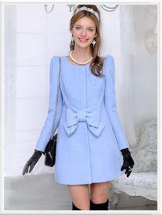 Morpheus Boutique  - Blue Ruffle Bow Wool Pleated Lady Long Sleeve Coat