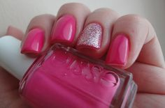 pink nails + sparkle nails