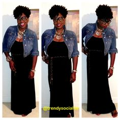 Jacket: Old Navy Dress: eBay Shoes: SRI Shoe Warehouse Necklace: Arthur's, ATLANTA Bracelet: Pinktown USA  Follow me on Twitter and Instagram @Adeea Rogers  Black maxi dress, statement necklace, black ruffle maxi dress