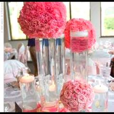 Pink for bridal or baby shower love the bright centerpiece