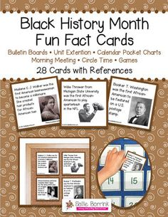 """Black History Month Fact Cards - Great for Unit Extension Activity, Bulletin Boards and Games - One teacher said: """"My kids are addicted to reading these facts cards every morning. If I forget to read one, they are sooo quick to remind me. And the parents are learning too! During conferences, I had many parents tell me how much they had learned from their children when we read the apple and pumpkin cards. Thanks!"""""""