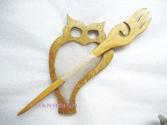 Wooden Shawl Owl Pin, $5.99