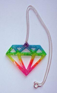 Neon glitter rainbow UV glow emo scene diamond by ToxicGlamour