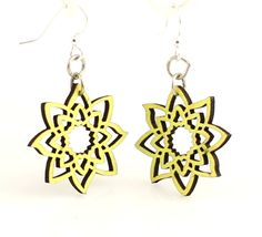 Made In U.S.A Style # 129A is photgraphed above in our new Neon Yellow color made from sustainably sourced materials Ear wires are silver-finished 3041 stainless steel with new electrophoretic-coating that resists tarnishing All blossoms earring sizes are less than a square inch in size