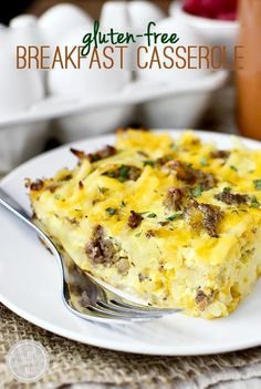 Gluten-Free Breakfast Casserole is hearty and crowd-pleasing. Prepped in minutes then baked until golden brown and bubbly!|  iowagirleats.com