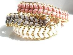 Chain Bracelet  White Chevron leather Gold chain by Daniblu, $22.00 by love_m