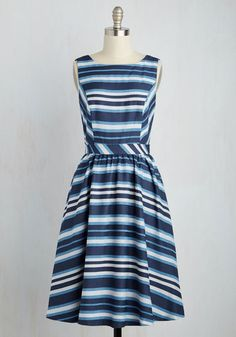 Pier, Far, Wherever You Are Dress. Stunning, nautical-inspired style isnt a distant dream when this woven midi is right before your eyes! #blue #modcloth