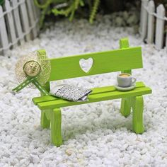 I want this cute writer's bench for my next indoor fairy garden. It reminds me of my garden relaxation time after summer watering and deadheading! #minigardens