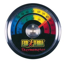 Exo Terra Thermometer, Celsius and Fahrenheit For monitoring terrarium temperature levels. Easy to read and install. Celsius or Fahrenheit options.  #ExoTerra #PetProducts