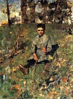 James Guthrie, Boy with a Straw, 1882, Canvas, 38.8 x 29, Private Collection.