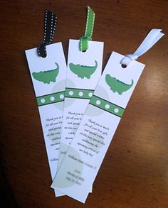 Book themed baby shower favor: bookmarks