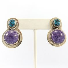 Turquoise and Charoite Earrings