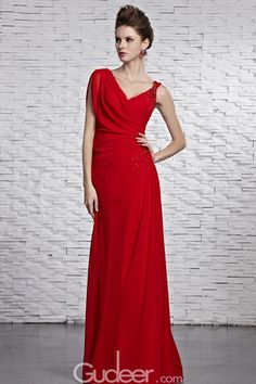 Asymmetrical Red V Neck Ruched Sequined Long Evening Dress