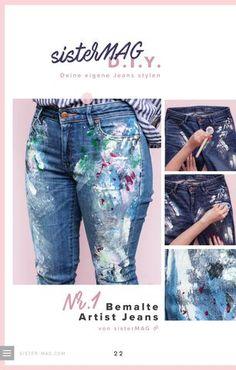 DIY: Jeans selber bemalen. Diy Kleidung, Diy Jeans, Flamingo, Diys, Pants, Clothes, Drawing, Projects, Blog