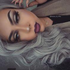 Vampy makeup look.