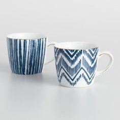 Blue and White Porcelain Mugs Set of 2