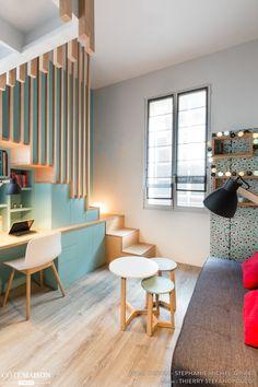 Chambre avec vue, Menuiseries sur mesure, Escalier, Petits espaces, Réalisation WOM Design - Stéphanie Michel-Girard - Côté Maison