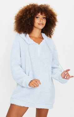 Baby Blue Teddy Oversized Lounge Hoodie | PrettyLittleThing Fluffy Socks, Comfy Shorts, Comfy Hoodies, S Models, Baby Blue, Lounge Wear, Snug, Fashion Outfits, Women's Clothes
