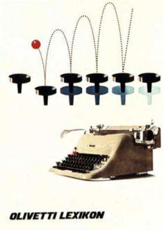Manifesto pubblicitario disegnato nel 1955 da Giovanni Pintori, graphic designer, per la macchina per scrivere Lexikon 80, uscita nel 1948 su progetto di Giuseppe Beccio e design di Marcello Nizzoli.