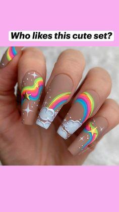 Edgy Nails, Stylish Nails, Swag Nails, Best Acrylic Nails, Acrylic Nail Designs, Kid Nail Designs, Rainbow Nail Art Designs, Bright Nail Designs, Colorful Nail Art