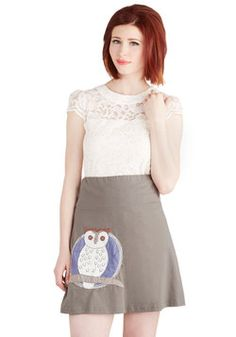 Owl at the Moon Skirt, #ModCloth
