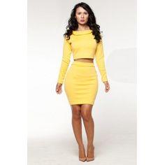 Sexy Long Sleeves Yellow Polyester Two-piece Sheath Mini Dress