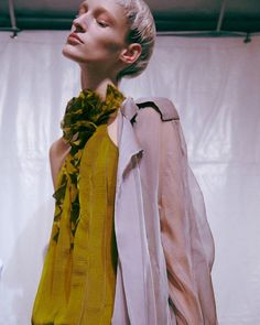 Ruffled sheer chiffon backstage at Haider Ackermann SS15 PFW. More images here: http://www.dazeddigital.com/fashion/article/21966/1/haider-ackermann-ss15