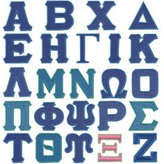 Greek Set embroidery font Embroidery Fonts, Embroidery Patterns, Vinyl Lettering, Greek Lettering, Greek Alphabet, Needlepoint Stitches, Sorority, Quilt Blocks, Andrew College