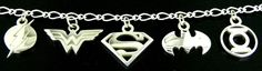 Sterling Silver Charm Bracelet featuring Superman, Batman, Wonder Woman, Green Lantern and The Flash. Charms are available as a set or individually.  Charm RRP $30 AUD Each