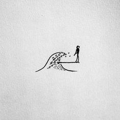 14 Stylish Surf Tattoos That Every Female Shredder W. Surf Drawing, Surf Tattoo, Illustration Art, Illustrations, Surf Art, Simple Art, Doodle Art, Doodle Drawings, Tattoo Drawings