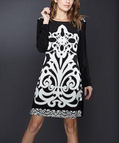 Black & White Boatneck Dress - Women | zulily