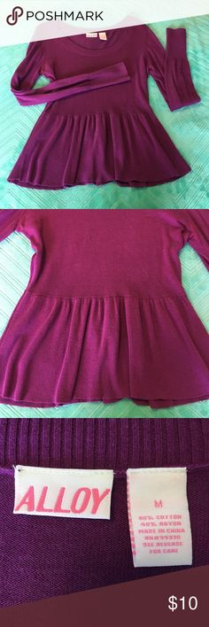 Purple Crew Neck Peplum Sweater Soft and cozy purple peplum sweater with nice long sleeves - beautiful color and perfect for work or casual wear - only worn twice ALLOY Sweaters Crew & Scoop Necks