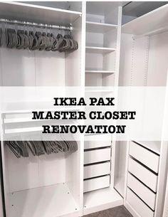 Ikea Closet System, Walk In Closet Ikea, Ikea Closet Hack, Ikea Closet Organizer, Ikea Pax Wardrobe, Small Closet Space, Ikea Pax Hack, Build In Closet, Ikea Closet Shelves