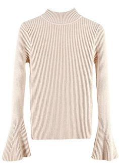 97ec2c6f0f056 omniscient Womens Stylish Long Trumpet Sleeve Slim Fit Sweater Tops 1 OS at  Amazon Women s Clothing store