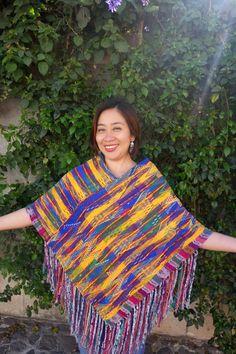 Maya Woman's Vintage Geometric Multi Color Huipil Textile Boho Poncho with Fringe from Guatemala