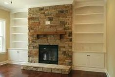 stone fireplace design ideas with tv above - Google Search
