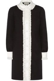 GucciRuffle-trimmed wool and silk-blend crepe shirt dress