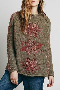 you could rock this all winter  ~Jacquard Snowflakes Sweater