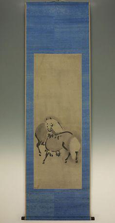 "Japanese Hanging Scroll : SOGA SHOHAKU ""Two Horses""  @c914 Two Horses, Seal, Japanese, The Originals, Box, Painting, Snare Drum, Japanese Language, Painting Art"