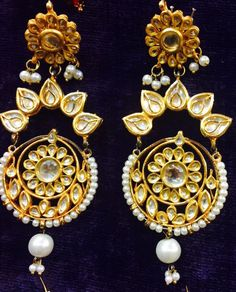 bollywood kundan fashion long chandbali earring pearl bridal wear indian ethnic #Maesha #DropDangle
