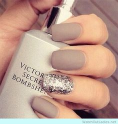 Victorias secret bombshell grey nail manicure