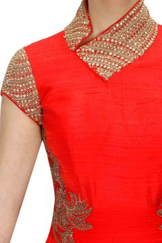 Red zari embroidered anarkali setavailable only at Pernia's Pop-Up Shop.