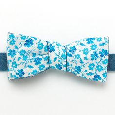 1940s Blue Vines & Slate Chambray Reversible Classic Bow - vintage bow ties handmade in the United States