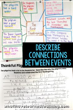 Describe the Connection Between Historical Events Social Studies Activities, Teaching Social Studies, Teaching Resources, Teaching Second Grade, Third Grade, Writer Tips, First Thanksgiving, Reading Comprehension, Reading Strategies
