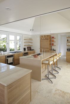 Contemporary tropical kitchen with custom designed casework