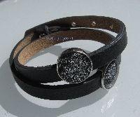 cuoio leren amband zwart metalen schuifkralen van polymeerklei