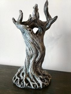 Tree Vase White Finish by Dellamorteco on Etsy Sculptures Céramiques, Tree Sculpture, Lion Sculpture, Driftwood Sculpture, Pottery Sculpture, Mystic Moon, Tree Artwork, Tree Roots, Ceramic Vase